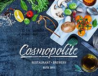 Cosmopolite restaurant/brewery [logo/menu/ads]