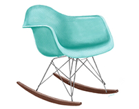 Eames Moulded Rocker in Teal & Walnut