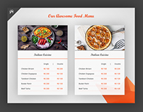 Food Menu For Restaurant Website.
