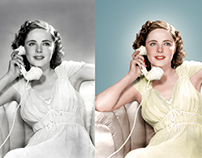 Colorized Black and White Photo of Kay Aldridge.