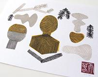 Zen Garden   linocut monotype print