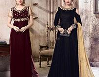 Dashing Worked Designer Indo Western Style Dresses