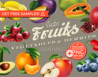 Fruits, Berries and Vegetables vector isolated objects