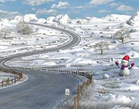 Cartoon Snow Road