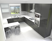 Kitchen with island 3D