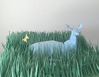 Paper Sculpture Deer
