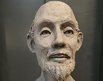"Portrait Bust, Water Based Clay, 12""x12""x16""- 2017"