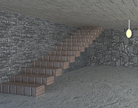 3d Room And Stairs Design Work With Different Texture