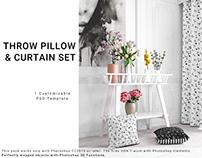 Throw Pillow & Curtain Set