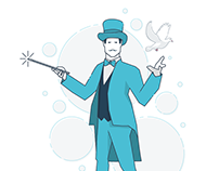 Business concept line character illustrations