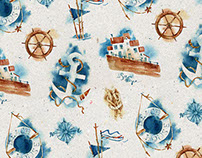 """Beach house"" watercolor pattern"