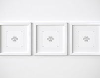 Set of three square white frames