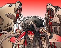 Femme shaman sauve les ours