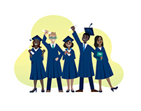 Happy graduates' vector illustration