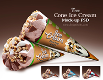 Free Cone Ice Cream Packaging Mock-up PSD File