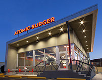 Atomic Burger Branding, Signage, EGD & Website