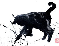 Abstract ink painting series: Jump Kittens!