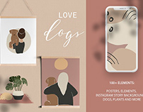 Love dogs. Abstract collection