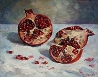 Sketch with pomegranate. Oil on cavas. 30 x 24 cm.