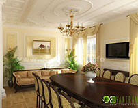 3D Classic Dining Room Design View