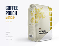 Coffee pouch 3/4 view mockup