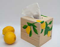 Tissue box with lemons