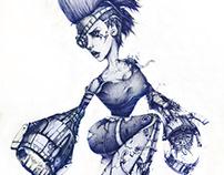 Ballpoint pen concept art / girl rebel