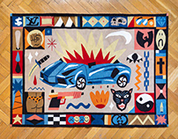 """BURNING LAMBO"" TAPESTRY"