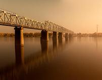 Autumn.  Petrivsky Railway Bridge.  Kyiv, Ukraine
