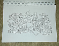 Diary with adult colorings Print design