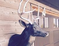 Bronze Deer w/ Silver Leaf Antlers
