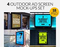 4 Outdoor Ad Screen Mock-Ups Set Bundle