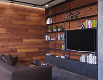 Wood Living Room | CGI