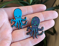 Octopus enamel pin designs