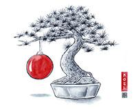 Christmas Pine - card design for RSR Partners Japan