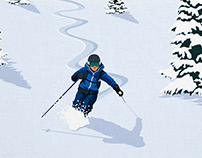 Verbier Fresh Tracks Ski Poster