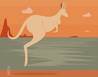Estampa Austrália e Cangurus