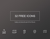 Free set of icons for baby products and furniture