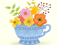 Spring flowers in a cup