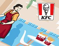 Illustrations For Outdoor Advertising KFC in Baku