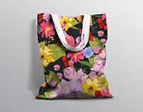Flower illustration pattern for Bag design