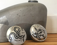 Hand Engraved Snake Gas Caps