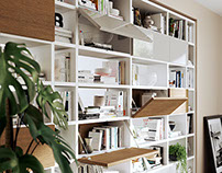 Library+Living render