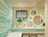 Kids bathroom #microcret #waves #sand