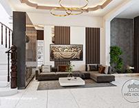 Thiết kế thi công nội thất nhà phố 5m 3 tầng 1 tum