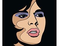 Singer Mick Jagger vector portrait.