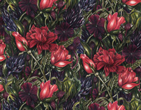 Coloured Pencil Floral Pattern