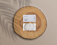 business card mockup on wood slice
