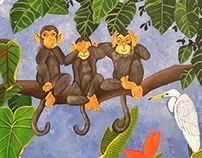 WISE MONKEYS AT THE HAPPY RAIN FOREST
