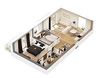 BLACK AND WHITE 3D FLOOR PLAN